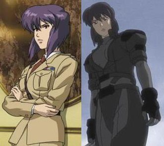 Motoko Kusanagi - Motoko Kusanagi in her JGSDF khaki military uniform and form fitting combat suit