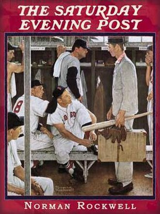 Jackie Jensen - Norman Rockwell's The Rookie, with Jensen at center, tying his shoe