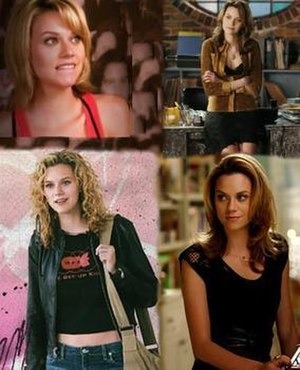 Peyton Sawyer - Peyton's hair and wardrobe evolution: Her seasons 1 and 2 curly hair, along with vintage clothing style (bottom left), season 3 shorter hair style (top left), season 5 sexier dress style (top right), and season 6 straight hair style (bottom right).