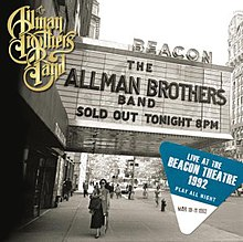 "The marquee of the Beacon Theatre, which reads ""The Allman Brothers Band – Sold Out – Tonight 8 PM"""