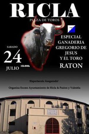 Ratón - Poster advertising Ratón's appearance at Ricla's bullring on 24 July 2010