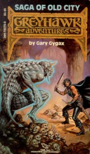 "Greyhawk - Saga of Old City by Gary Gygax (TSR, 1985); Cover art by Clyde Caldwell. The first Greyhawk Adventures novel, and the first featuring ""Gord the Rogue""."