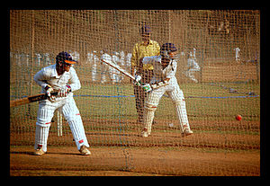 Shivaji Park - Young men undergoing Cricket training at Shivaji Park, Mumbai