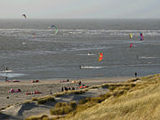 Kitesurfers at Slufter beach on the Maasvlakte in Rotterdam