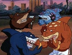 """Street Sharks - A screenshot from the first episode, """"Sharkbait."""" Clockwise from upper left: Jab, Streex, Slammu, Ripster."""