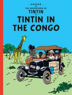 Book cover. Tintin is driving a jalopy in the African Congo.