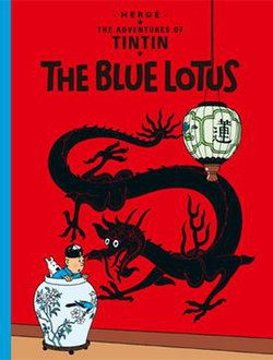 Book cover. Tintin and Snowy are hiding in an opium den.
