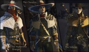 The Incredible Adventures of Van Helsing - Fans were allowed to vote on which visual style for the main character would be used in the game: The Mysterious Stranger (left), The Chevalier (centre), or The Veteran (right)