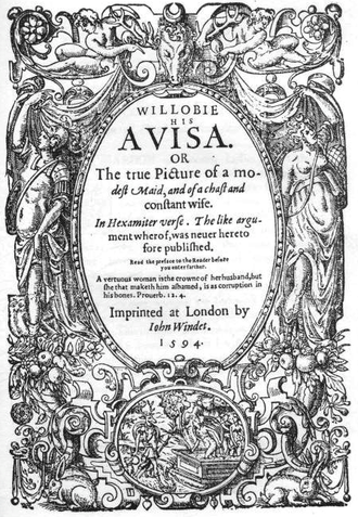 Willobie His Avisa - Title page of the first edition (1594)