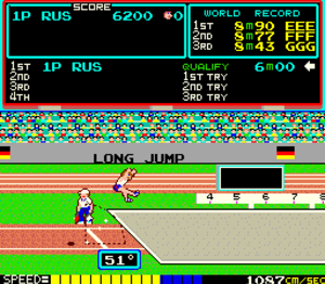 Track & Field (video game) - Gameplay screenshot of the long jump event.