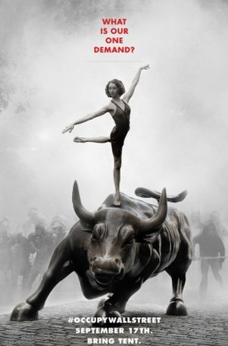 Charging Bull - A poster showing a ballerina on the Charging Bull to promote the Occupy Wall Street movement