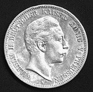 Silver 5 mark coin of William II