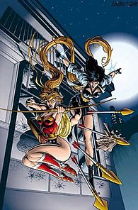 Artemis as the new Wonder Woman. Art by Mike Deodato.