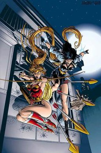 Artemis of Bana-Mighdall - Artemis as Wonder Woman and Diana in alternate costume. Illustration by Mike Deodato.