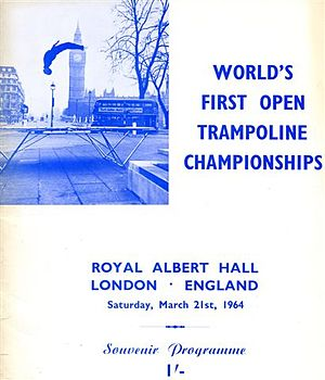 Trampolining - Programme cover from first World Championships showing Rob Walker outside Houses of Parliament