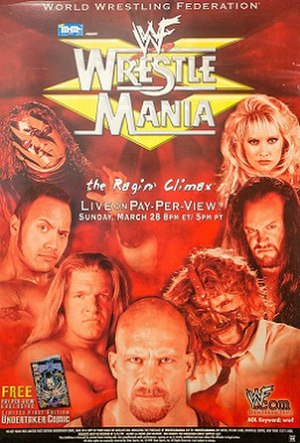 WrestleMania XV - Promotional poster, showcasing The Rock, Paul Wight, The Undertaker, Triple H, Mankind, and Stone Cold Steve Austin