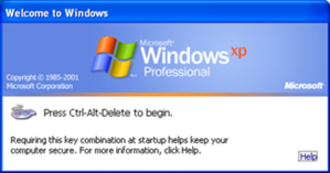 "Winlogon - Classic ""Begin logon"" dialog box on Windows XP"