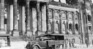 All Clues Lead to Berlin - Scene shot amongst the remains of the ruined Reichstag