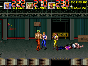 Double Dragon 3: The Rosetta Stone - An attract sequence from the arcade version showing three player characters fighting off against enemies