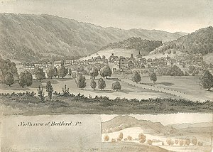 Bedford, Pennsylvania - North View of Bedford, PA (1840) by Augustus Kollner (1813–1906)