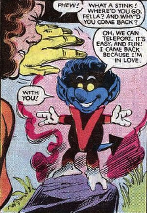 "Bamf - Nightcrawler cast as a ""Bamf"" in Kitty Pryde's bedtime story. Art by Dave Cockrum."