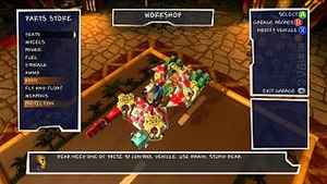 Banjo-Kazooie: Nuts & Bolts - A still image of construction of a vehicle in progress. A player may allocate resources such as fuel tanks and engines to any vehicle.