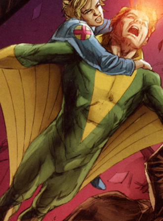 Banshee (comics) - Banshee depicted in his green and yellow outfit. Art by Doug Braithwaite.