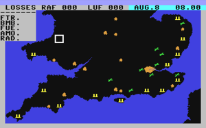Battle of Britain (video game) - A still image of gameplay. Gold colours represent cities, green represents RAF air bases and yellow represents radar installations.
