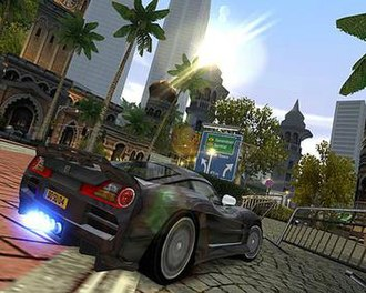 Burnout Dominator - Spiritual Towers is based on Kuala Lumpur, and is one of the first tracks depicting the city in any racing game. Here players are racing through a building of Moorish architecture, modelled on the Sultan Abdul Samad Building.