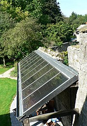 Solar water heaters face the equator and are angled according to latitude to maximize solar gain.