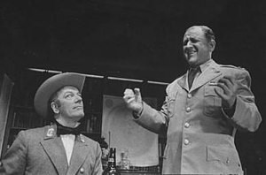 Eddie Mayehoff - Mayehoff (right) and Cyril Ritchard in the play Visit to a Small Planet (1957)