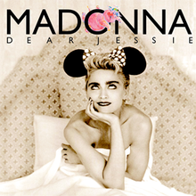 "Sepia image of a blond woman sitting on a bed, holding the bedsheet to her bosom. She wears a headdress with a large bow, and two black round structures on either side. The woman looks towards the top, where the word ""Madonna"" is written in capital font. A pink elephant is squeezed inside the letter ""O"" of Madonna, beneath which ""Dear Jessie"" is written."