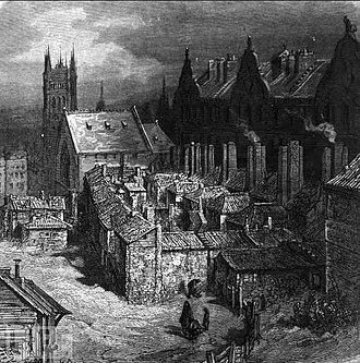 Devil's Acre - The Devil's Acre with the Palace of Westminster in the background, in an 1872 illustration by Gustave Doré. The illustration shows the Devil's Acre some years into the slum clearance, with the courtyard of small low-lying houses surrounded by multi-occupancy houses fronting onto Old Pye Street.