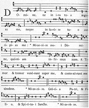Responsory -  The responsory Domine ne in ira for the first Sunday after Epiphany, from the Liber Responsorialis juxta Ritum Monasticum, Solesmes, 1895, page 398. The third double bar indicates where the partial respond, Miserere mei Domine, quoniam infirmus sum, will be repeated after the singing of the verse. This responsory includes a half-doxology and a final repetition of the partial respond after it.