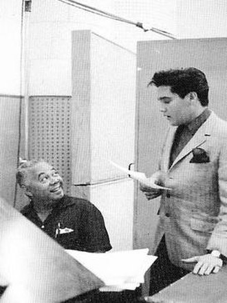 Dudley Brooks - Dudley Brooks and Elvis Presley at Radio Recorders studio