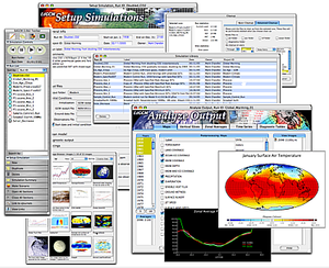 EdGCM - Components of the EdGCM suite include forms to set up climate model experiments, a control panel to run, pause, and stop the GCM, tools to post-process raw computer output into meaningful climate data, scientific visualization software, and utilities for organizing data, images, and experiment sets.