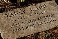 Emily Carr's gravestone
