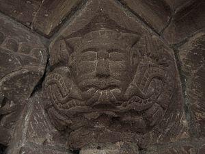 Garway - Garway Church Green Man Carved In Sandstone