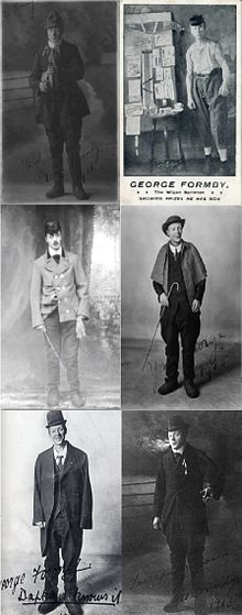 Six images of Formby in stage costume