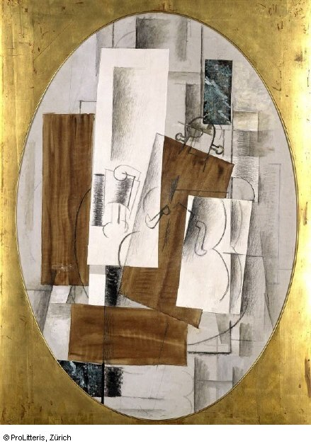 Georges Braque, 1914, Violin and Glass, oil, charcoal and pasted paper on canvas, oval, 116 x 81 cm, Kunstmuseum Basel