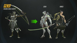 Image shows three characters. Genji, a cyborg-ninja is standing in the middle, while Hanzo, an archer, is standing next to him on the right. The first character on the left is the original concept of Hanzo, who was split into the two brothers.