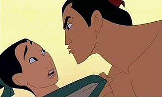 """I'll Make a Man Out of You - Screenshot of Mulan (left), disguised as """"Ping"""", being reprimanded by Shang (right) during the """"I'll Make a Man Out of You"""" sequence due to her incompetence."""