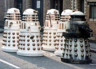 Dalek variants - A Special Weapons Dalek followed by several Imperial Daleks. From Remembrance of the Daleks.