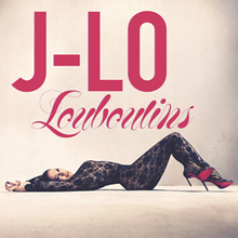 Against a pink background, a woman lies provocatively dress in a lace catsuit. She is wearing a pair of louboutin heels with the red bottoms. Above her in red writing it says the name of the artist and song.