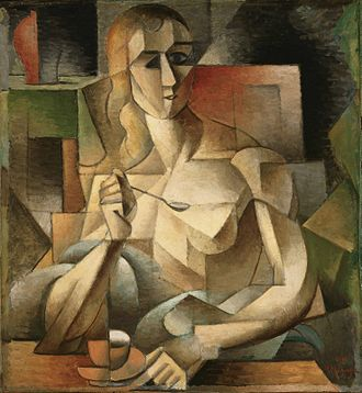 "1911 in art - Jean Metzinger - Le goûter (Tea Time) (76x70cm), Philadelphia Museum of Art. Exhibited at the 1911 Salon d'Automne; André Salmon dubs it ""The Mona Lisa of Cubism"""