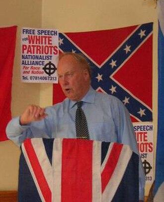 John Tyndall (politician) - Tyndall addressing a Nationalist Alliance meeting in 2005