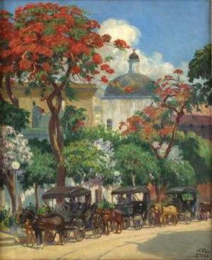 """Miguel Pou - Pou's masterpiece """"Los Coches de Ponce"""" (1926) is available for viewing at the Museo de Arte de Ponce"""