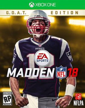 Madden NFL 18 - Xbox One cover art featuring Tom Brady