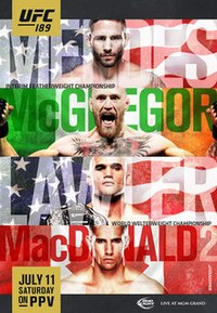 A poster or logo for UFC 189: Mendes vs. McGregor.