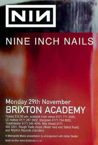 Fragility Tour - A promotional poster for Nine Inch Nails' concert in London on November 29, 1999 as part of their Fragility v1.0 tour.